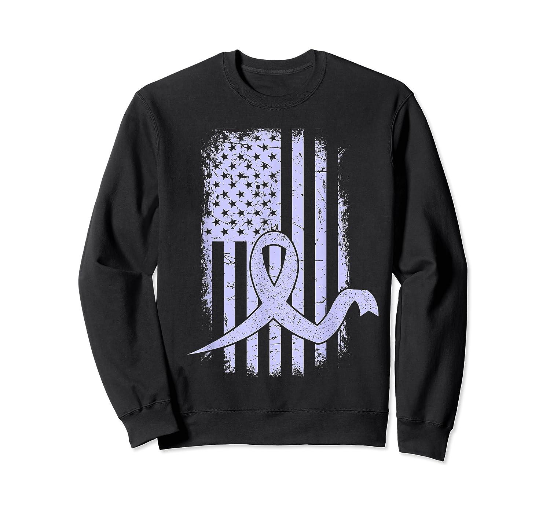 American Flag Stomach Cancer Awareness Ribbon T-shirt Crewneck Sweater