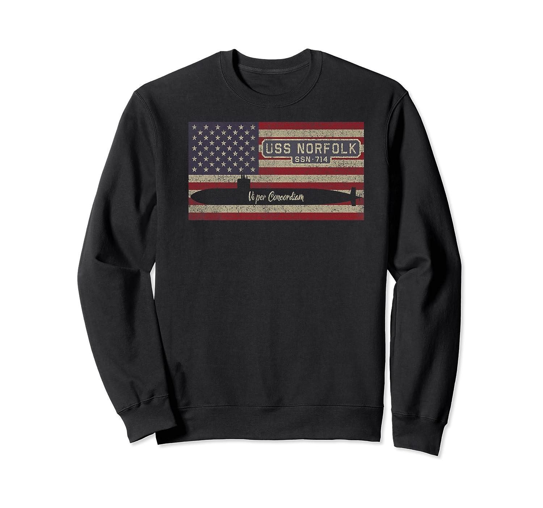 Uss Norfolk Ssn-714 Sub American Flag Gift Premium T-shirt Crewneck Sweater