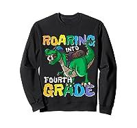 Roaring Into Fourth Grade 4 Dinosaur Back To School Soccer Shirts Sweatshirt Black