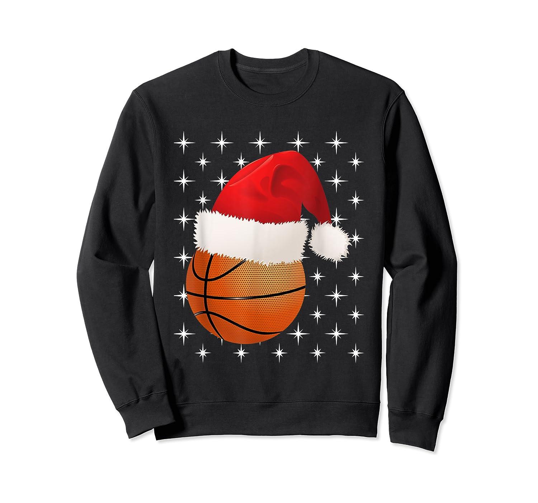 Christmas Stars Basketball Ball Santa Hat Funny Sports Xmas T-shirt Crewneck Sweater