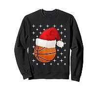Christmas Stars Basketball Ball Santa Hat Funny Sports Xmas T-shirt Sweatshirt Black
