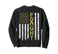 Childhood Cancer Awareness T-shirt American Flag Distresse T-shirt Sweatshirt Black
