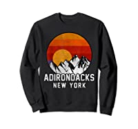 Adirondacks Retro Mountain Sunset Shirts Sweatshirt Black