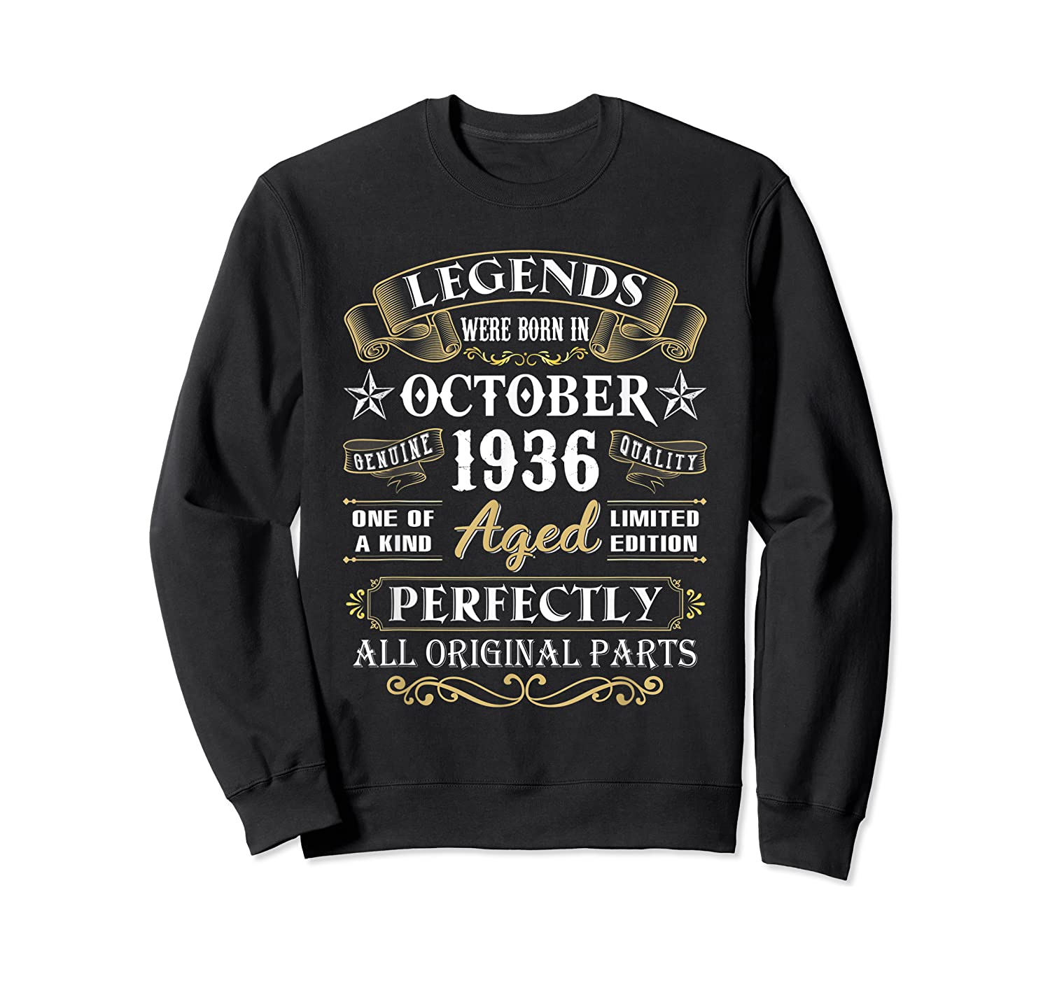 Legends Were Born In October 1936 84th Birthday Gifts T-shirt Crewneck Sweater