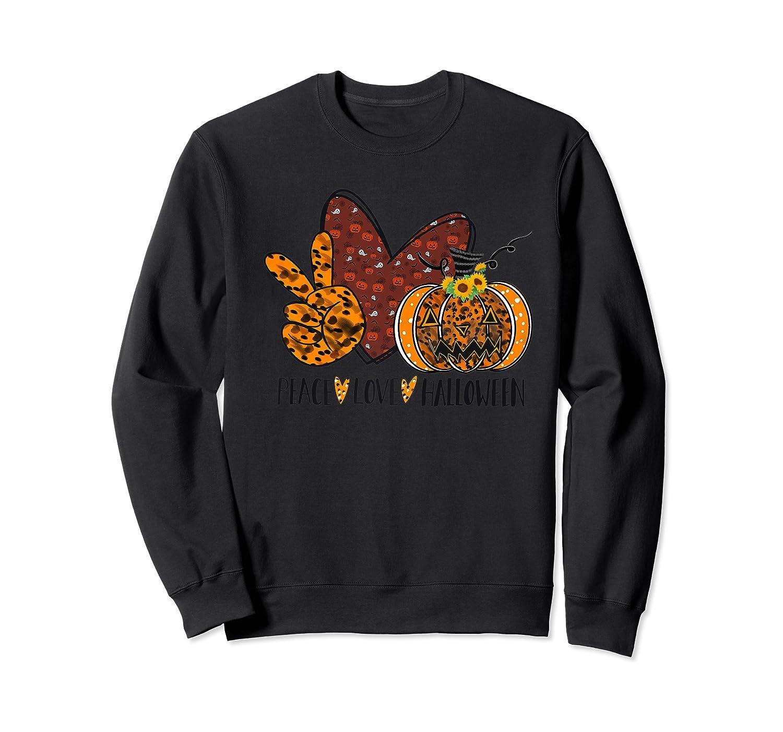 Peace Love Halloween Leopard Print Pumpkin Custom Gift Premium T-shirt Crewneck Sweater