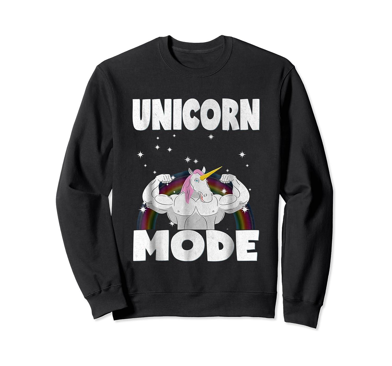 Unicorn Mode Rainbow Stars Hustle Muscle Work Party Shirts Crewneck Sweater