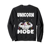Unicorn Mode Rainbow Stars Hustle Muscle Work Party Shirts Sweatshirt Black