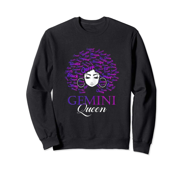 Black Afro Hair Gemini Queen Birthday Gift T-shirt Crewneck Sweater