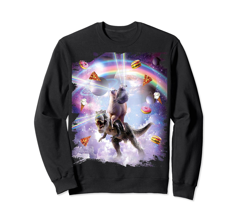 Laser Eyes Space Cat On Dinosaur - Rainbow T-shirt Crewneck Sweater