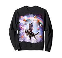 Laser Eyes Space Cat On Dinosaur - Rainbow T-shirt Sweatshirt Black