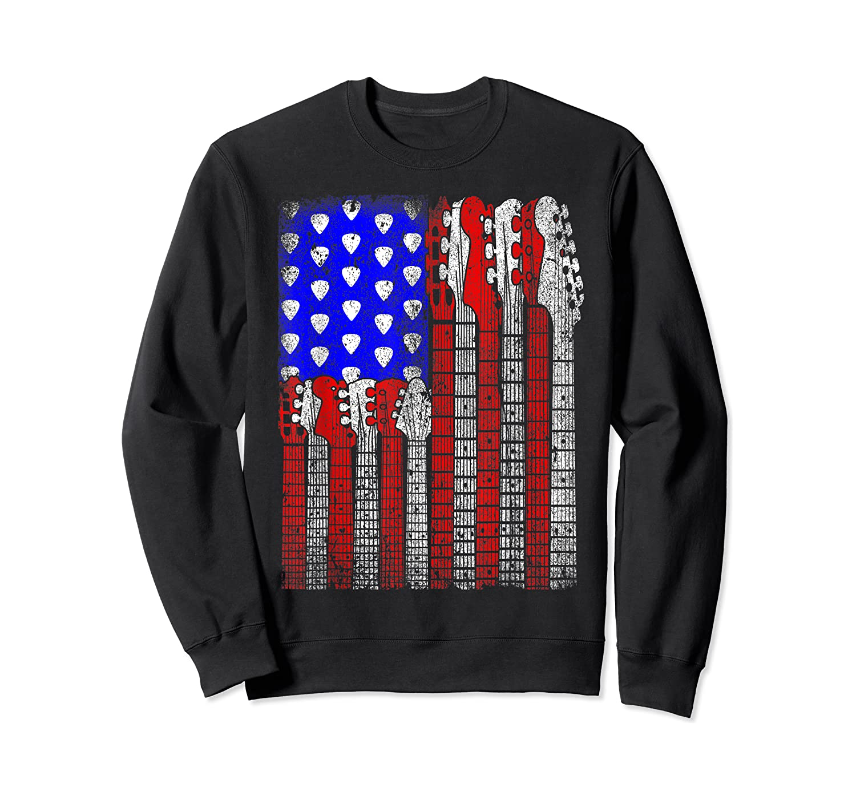Guitar Vintage American Usa Flag Rock 4th Of July Shirts Crewneck Sweater