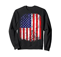 Distressed American Flag, Patriotic Shirts Sweatshirt Black