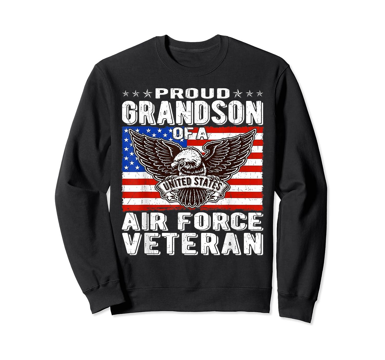 Proud Grandson Of Air Force Veteran Patriotic Military Gifts Shirts Crewneck Sweater