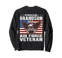 Proud Grandson Of Air Force Veteran Patriotic Military Gifts Shirts Sweatshirt Black