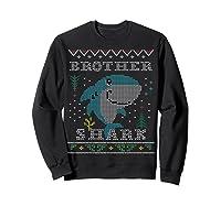 Brother Shark Ugly Christmas Sweater Design Nephew Shirts Sweatshirt Black
