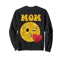 Emoji Gift For Mom Kissing Emoji Heart Mothers Day Shirts Sweatshirt Black