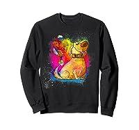 Pixar Up Dug Watercolor Rainbow Graphic Shirts Sweatshirt Black