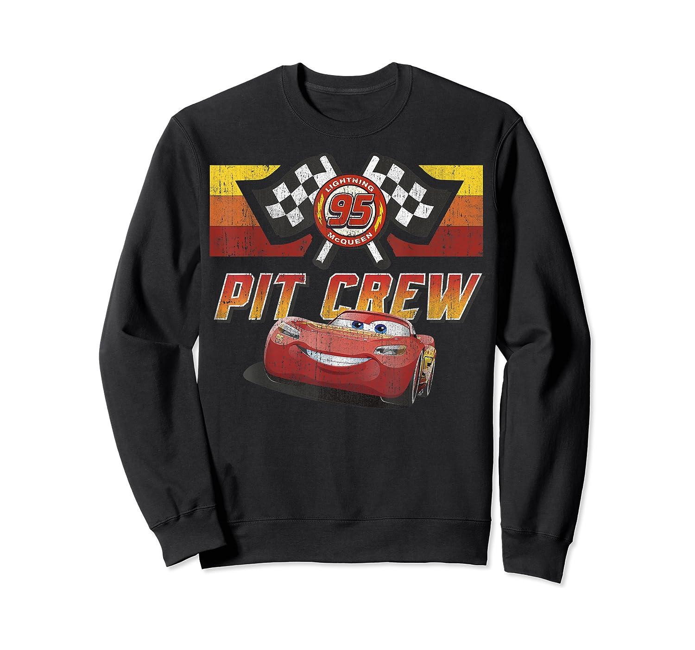 Disney Pixar Cars Mcqueen Pit Crew Red Distressed T-shirt T-shirt Crewneck Sweater