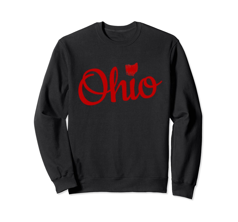 Cute Ohio Red Script OH Map Love Home Buckeye State Sweatshirt