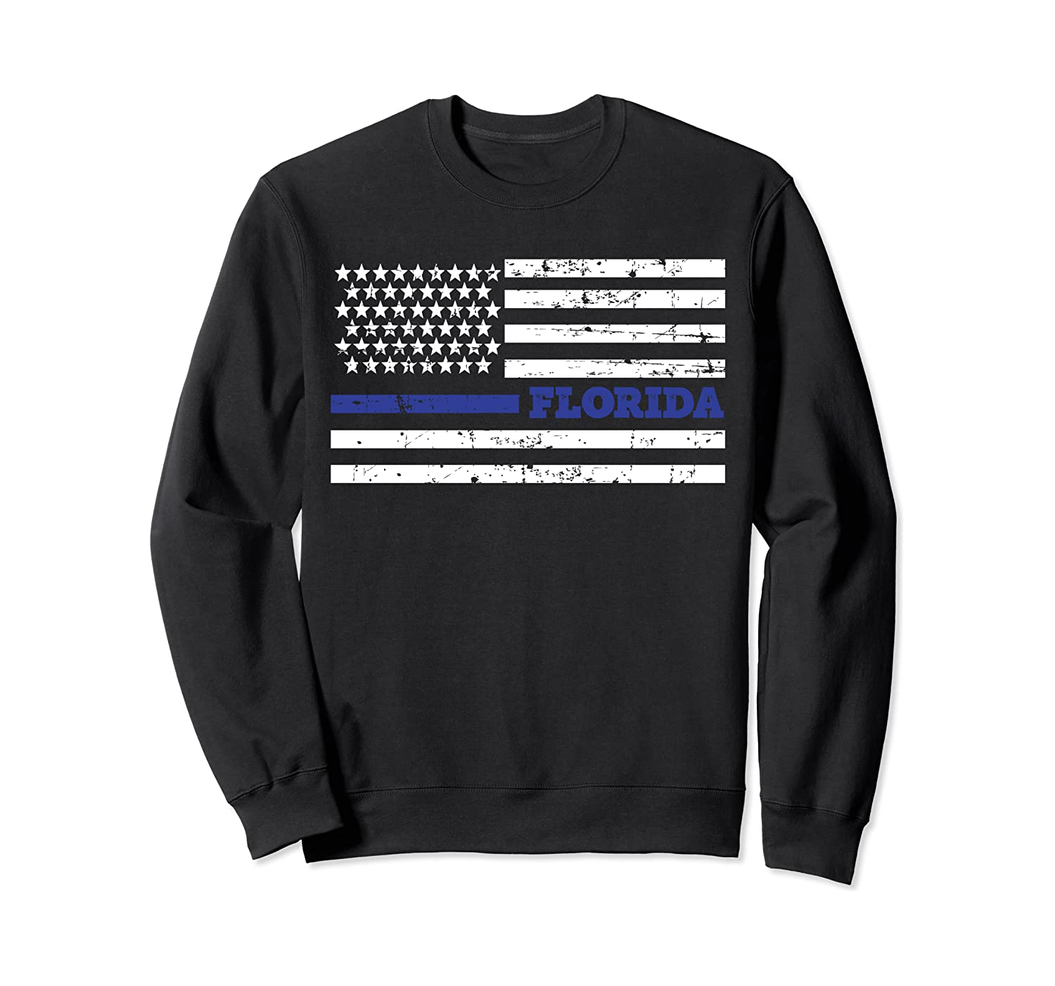 Florida Police Law Enforcement Distressed Thin Blue Line Sweatshirt