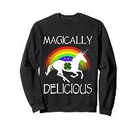 Magically Delicious Unicorn St Patrick's Day Ns Shirts Sweatshirt Black