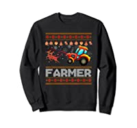 Tractors Farmer Christmas Funny Farming Xmas Gift Shirts Sweatshirt Black