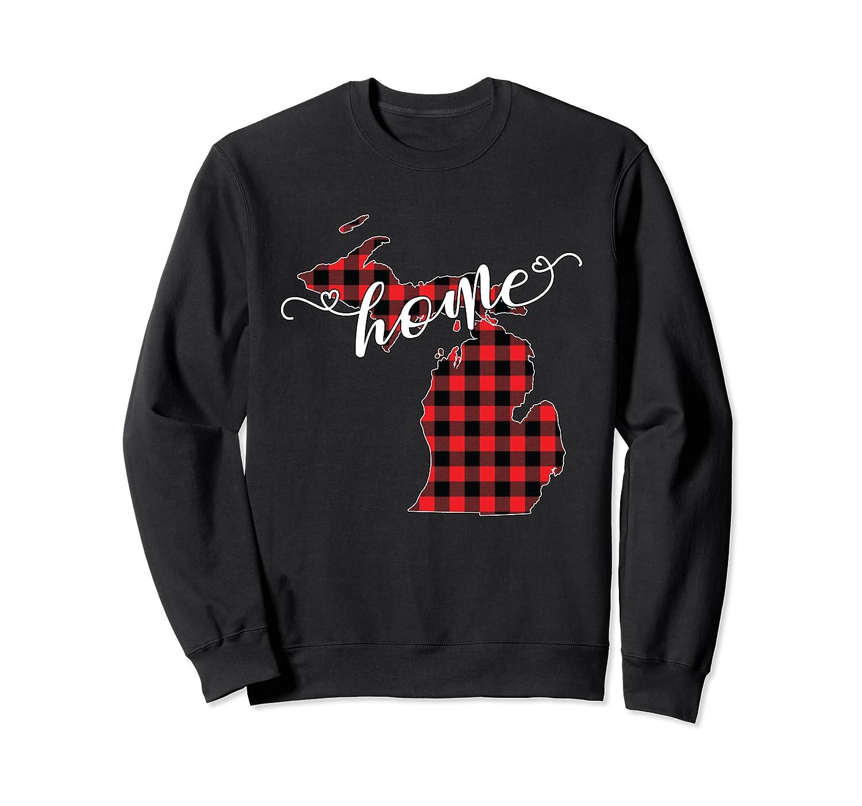 Michigan MI State Outline Home Winter Red Buffalo Plaid Gift Sweatshirt