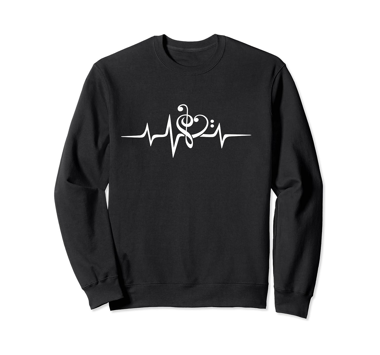 Music Clef Heart Heartbeat Treble Bass Key Choir Band Shirts Crewneck Sweater