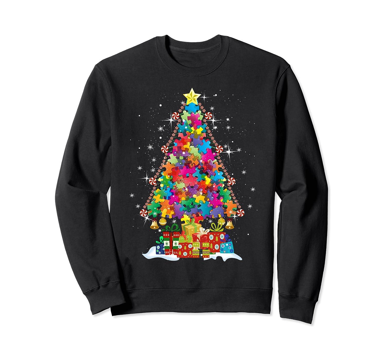 Autism Christmas Tree Puzzles T-Shirt Autism Awareness Month Sweatshirt-Yolotee