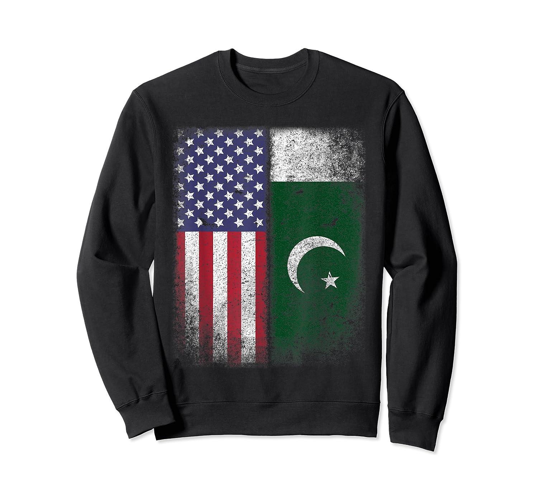 Pakistan Usa Pakistani American Flag Pride Shirts Crewneck Sweater