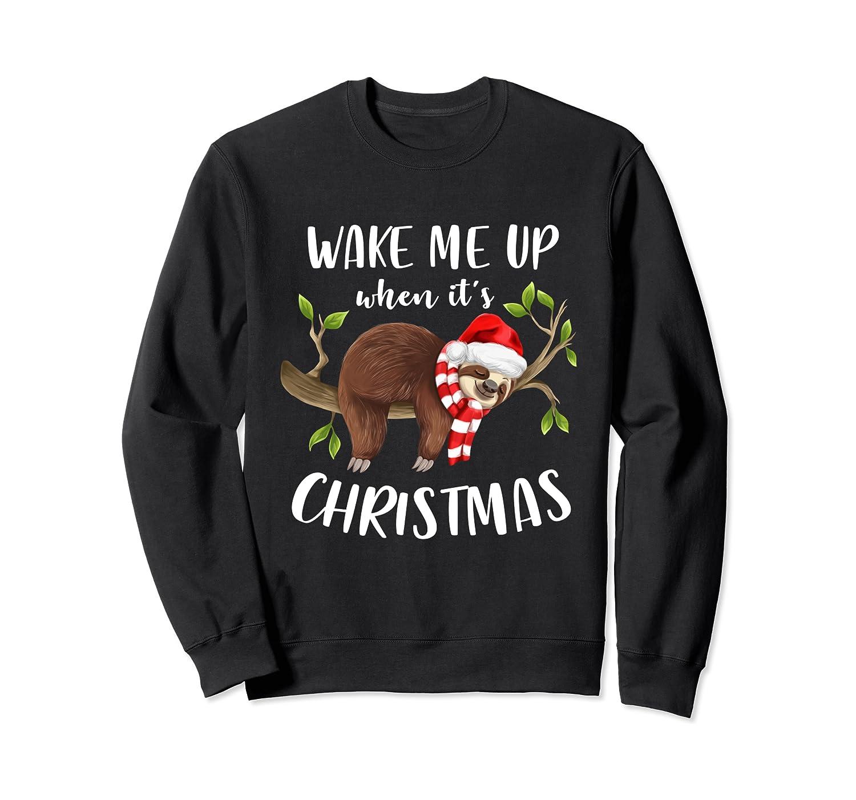 Wake Me Up When It's Christmas Sleeping Sloth Lazy Nap Sleep Sweatshirt