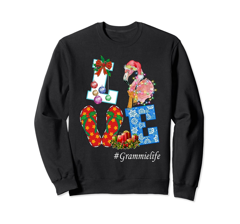 Womens Love Grammie Life Christmas Flamingo Family Sweatshirt-Awarplus
