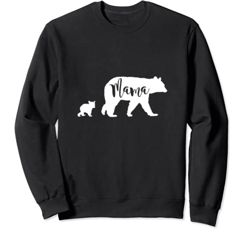 Mama Bear With 1 One Cub Mom Mother Gift Sweatshirt