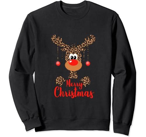 Funny Reindeer Face Rudolph Deer Merry Christmas Leopard Sweatshirt
