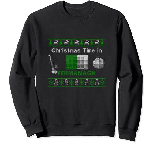 Fermanagh County Colours Ugly Ireland Christmas Design Sweatshirt