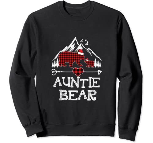 Auntie Bear Christmas Pajama Red Plaid Buffalo Family Sweatshirt