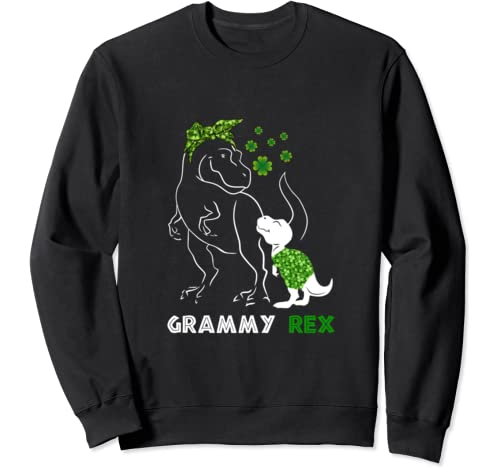 Grammysaurus Rex Irish Shamrock Dinosaur Family Mother's Day Sweatshirt