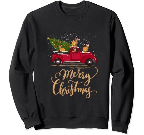 Kangaroo Driving Christmas Tree Truck Kangaroo Christmas Sweatshirt