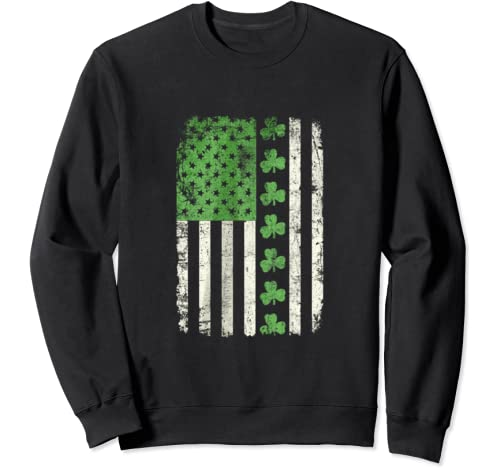 St Patrick's Irish American Flag Vintage Shamrock Lucky Day Sweatshirt