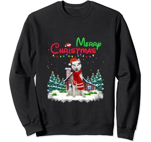 Husky Santa Hat Christmas Lights Merry Christmas Sweatshirt