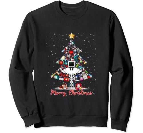 Funny Merry Christmas Doctor Tree Christmas Stars In Snow Sweatshirt