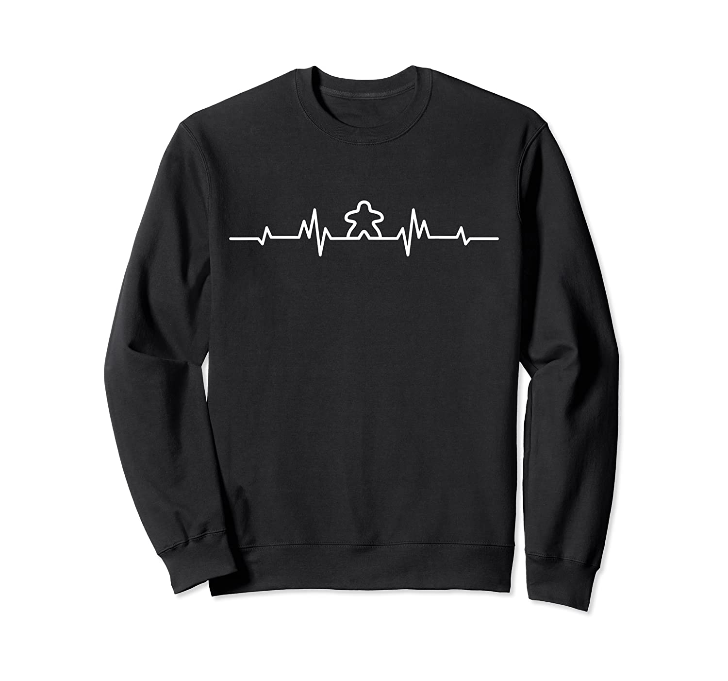 Board Game Heartbeat Meeple Lover Player Figure Gift Shirts Crewneck Sweater