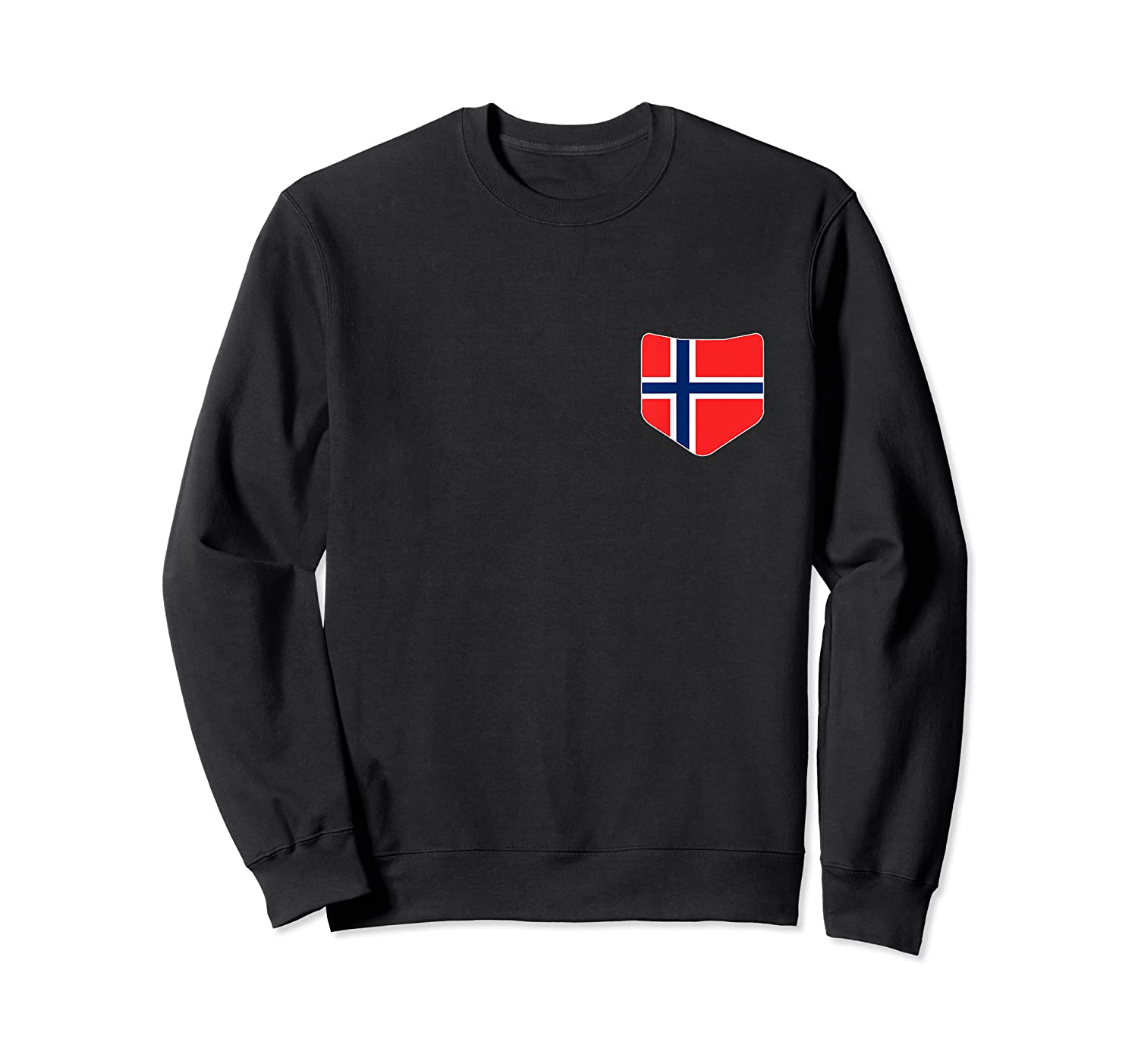 Norway Flag T Shirt With Printed Norwegian Flag Pocket Crewneck Sweater