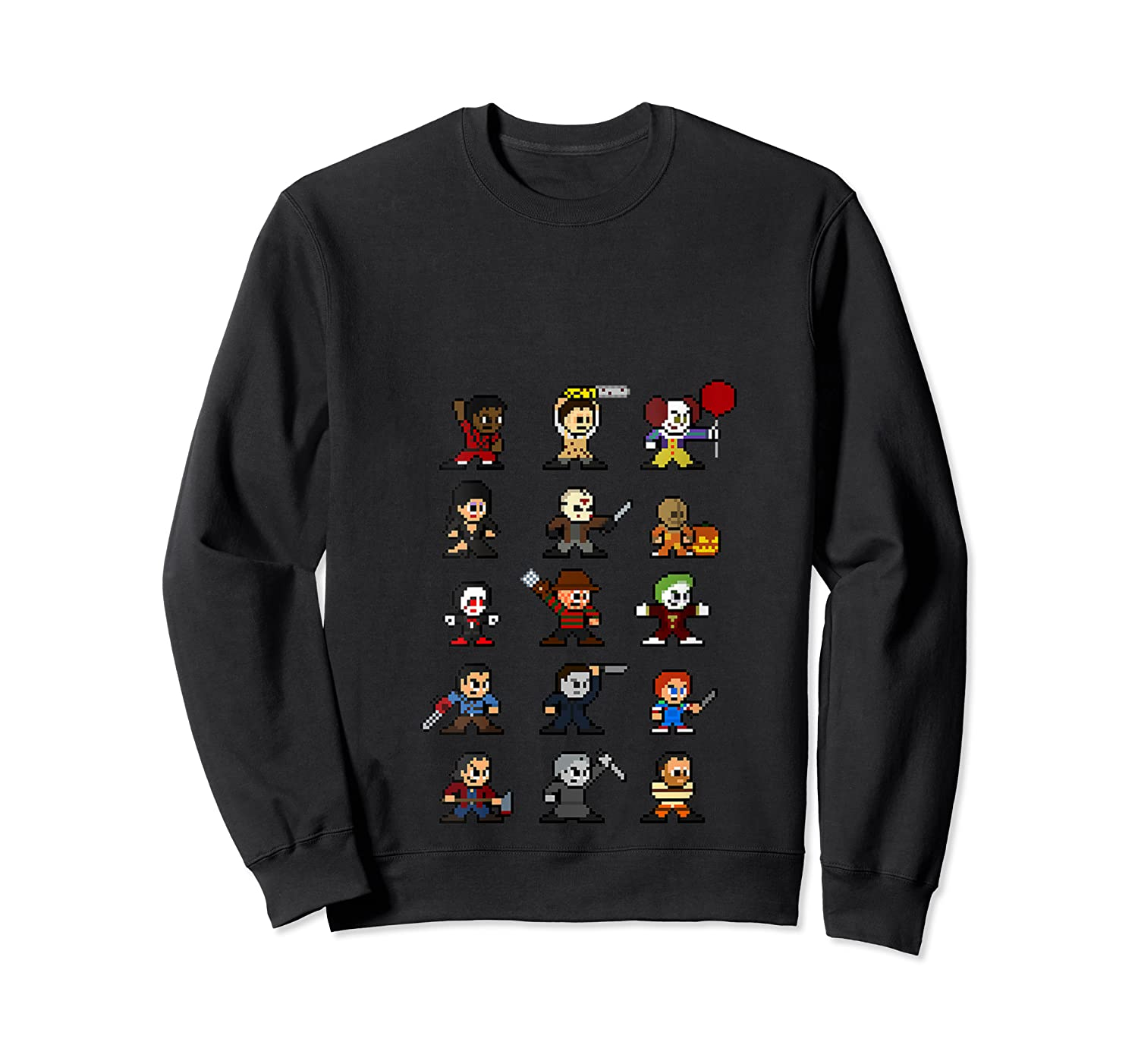 Friends Pixel Halloween Icons Scary Horror Movies T Shirt Crewneck Sweater