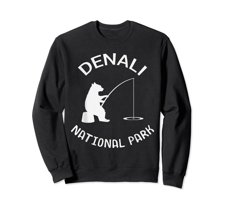 Alaska Denali National Park Bear Fishing Silhouette T-shirt Crewneck Sweater