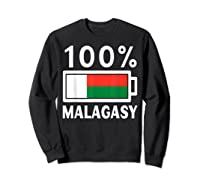 Madagascar Flag T Shirt 100 Malagasy Battery Power Tee Sweatshirt Black