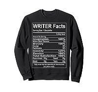 Writer Facts Storyteller Nutrition Information T Shirt Sweatshirt Black