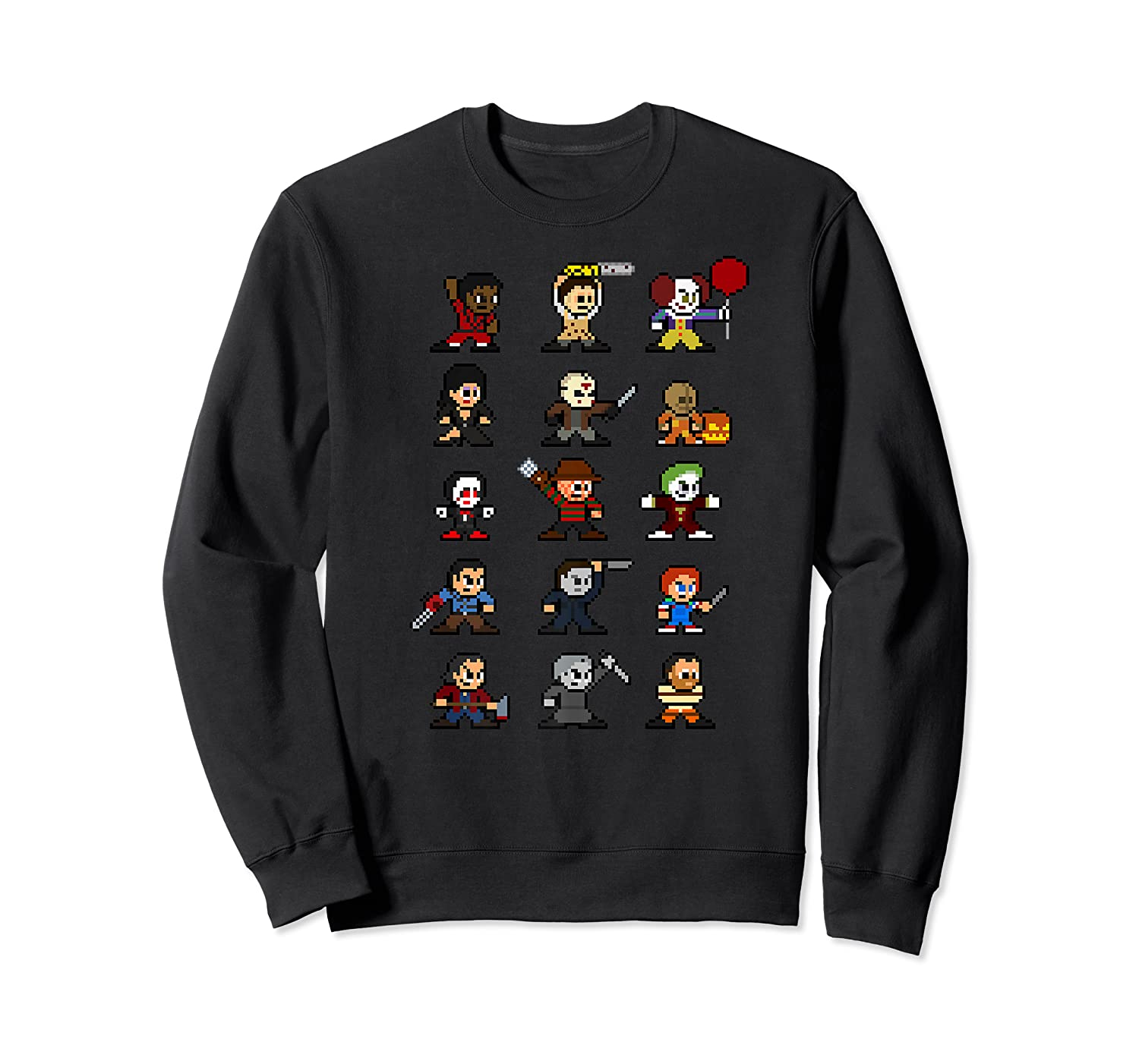 Friends Pixel Halloween Icons Scary Horror Movies Premium T Shirt Crewneck Sweater