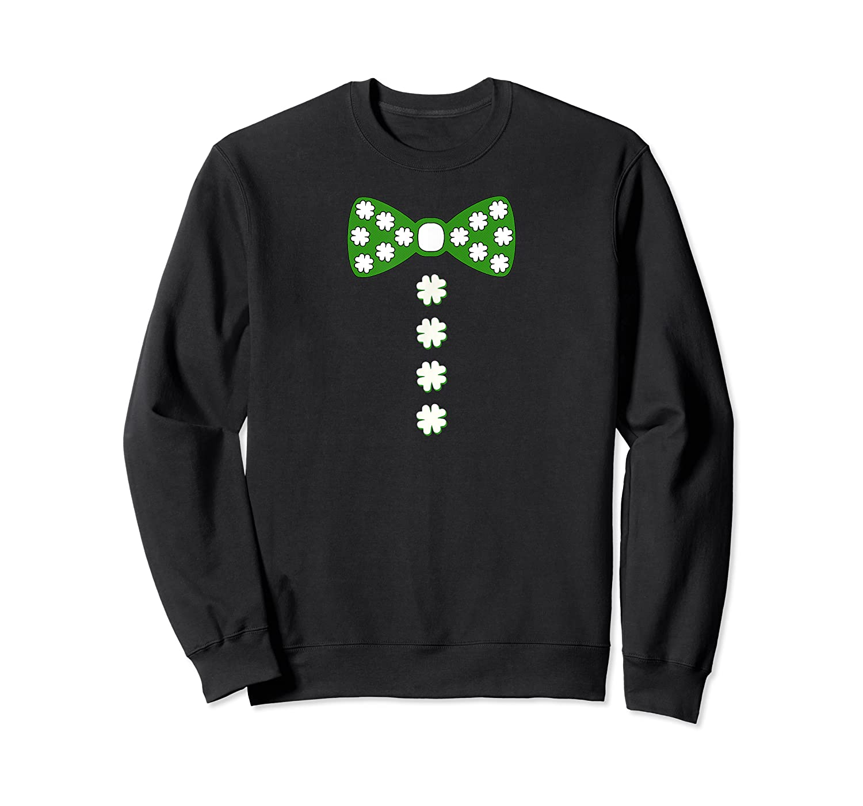 St Patricks Day Bow Tie Shamrock Clover Buttons Tshirt Crewneck Sweater