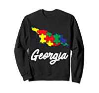 Autism Awareness Day Georgia Puzzle Pieces Gift Shirts Sweatshirt Black